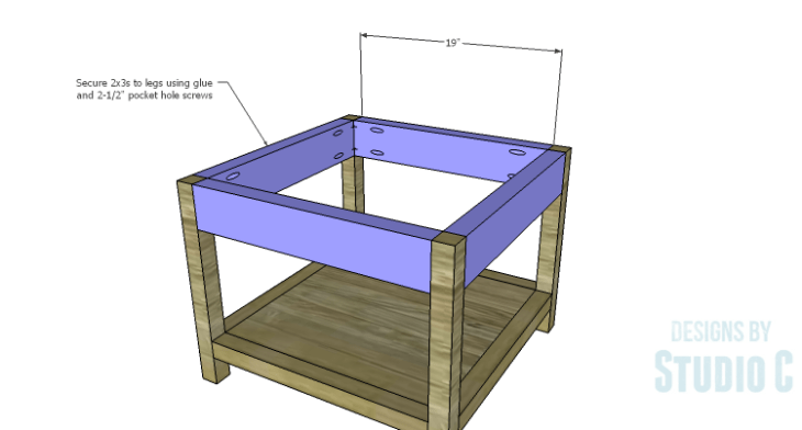 DIY Plans to Build a Storage Shelf Ottoman_Upper Stretchers