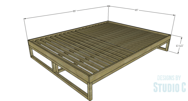 DIY Plans to Build a Modern+Rustic Queen Platform Bed