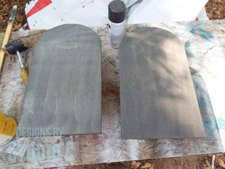 DIY Textured Wood Gravestone Signs-Paint Before