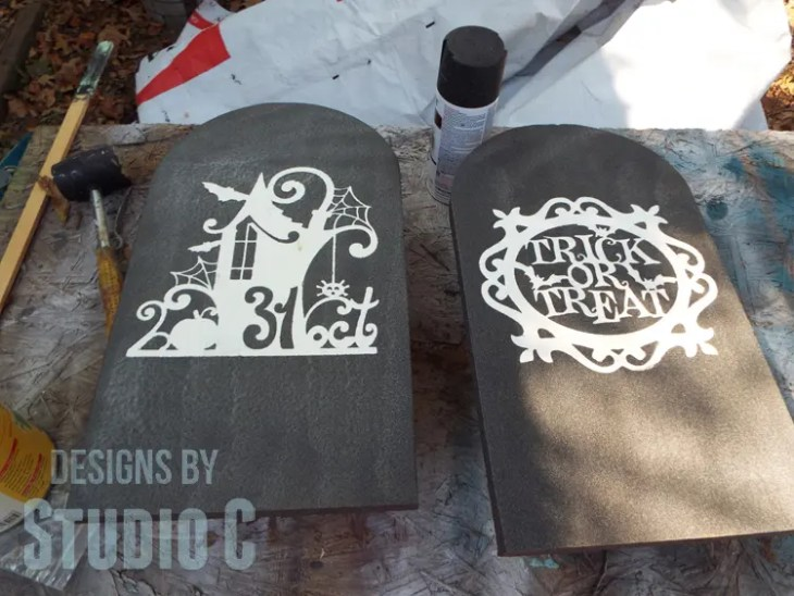 DIY Textured Wood Gravestone Signs-Wet Paint