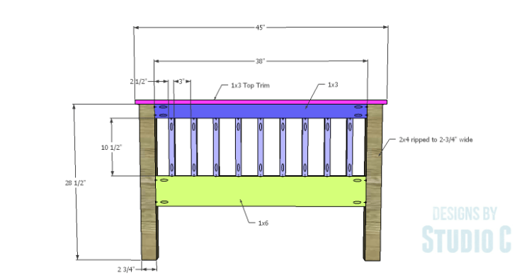 DIY Plans to Build a Delilah Twin Bed-Footboard