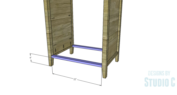 DIY Plans to Build a Tall Cabinet Base-Bottom Stretchers