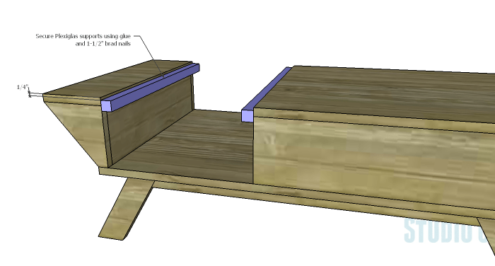DIY Plans to Build a Brady Coffee Table-Plexiglas Supports