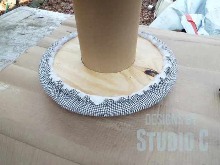 DIY Ottoman or Footstool Using an Old Wooden Spool_Trimmed Fabric