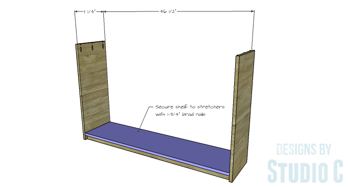 DIY Plans to Build a Storage Console Table-Lower Shelf