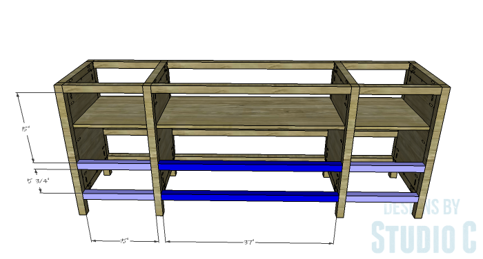DIY Furniture Plans to Build a Tristan Media Stand-Lower Front Stretchers