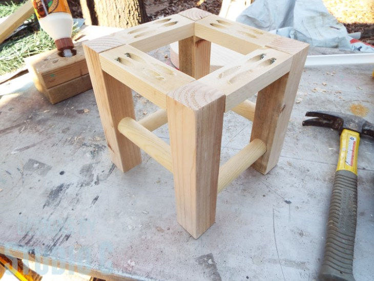 DIY Furniture Plans to Build a Knock-Off Stand or Stool-Assembled