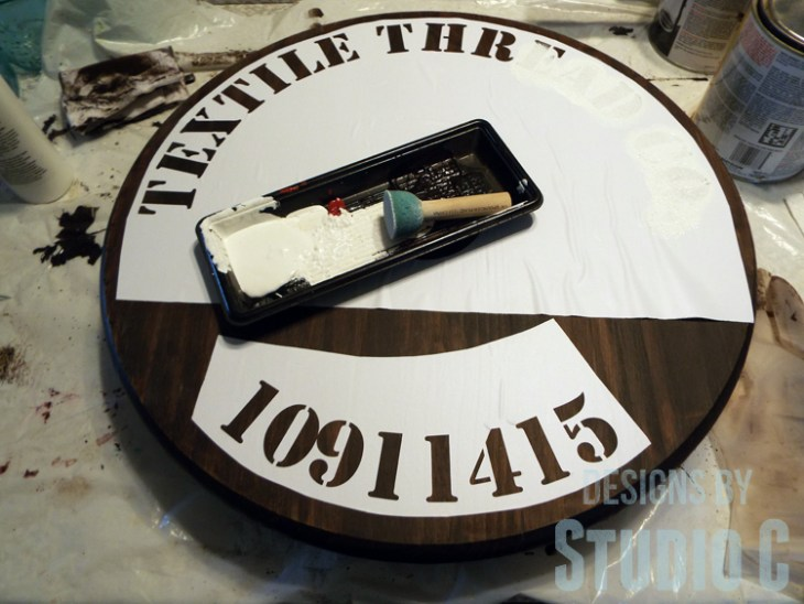 DIY Furniture Plans to Build a Knock-Off Spool Side Table - Stenciled Top