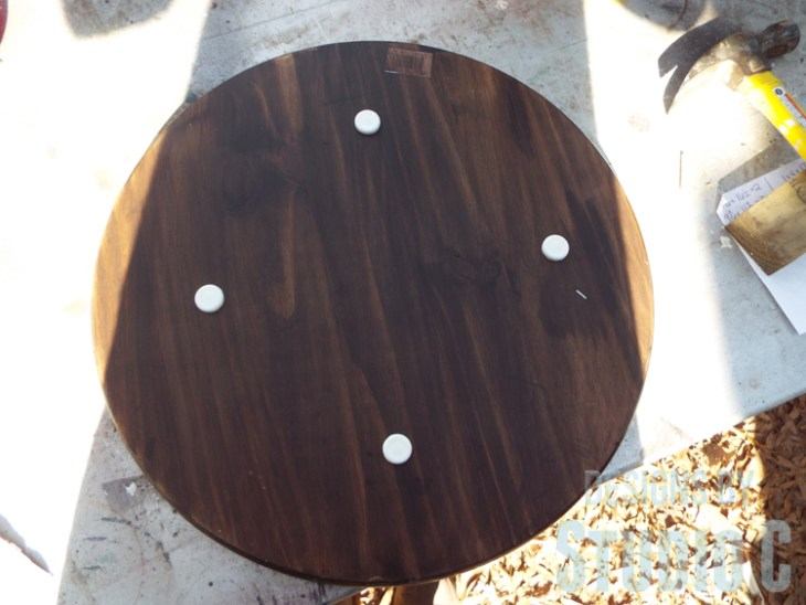 DIY Furniture Plans to Build a Knock-Off Spool Side Table - Nail On Furniture Glides