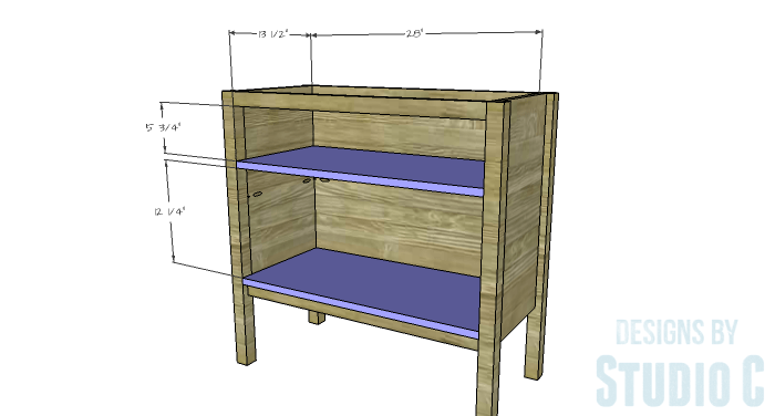 DIY Furniture Plans to Build an Evan Dresser - Shelves