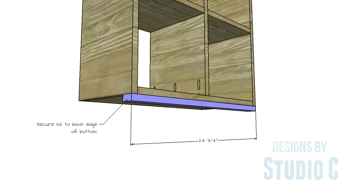 DIY Furniture Plans to Build a Squared Bookcase - Bottom Support