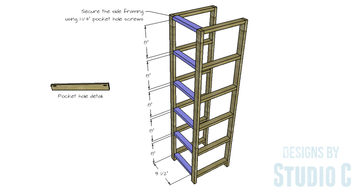 DIY Furniture Plans to Build a Crate Storage Tower - Side Framing 1