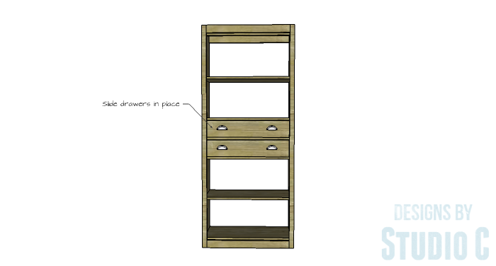 DIY Furniture Plans to Build an Open Bookcase with Drawers - Drawers 5