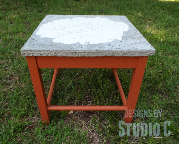 DIY Furniture Plans to Build a Stenciled Concrete Top Table - Forward View