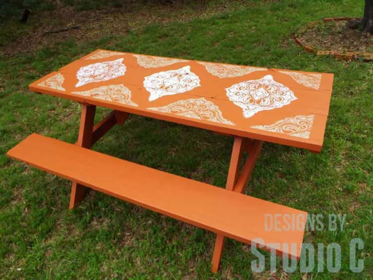 DIY Picnic Table Makeover - Top View