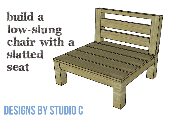 DIY Furniture Plans to Build a Low Slung Chair with Slatted Seat - Copy