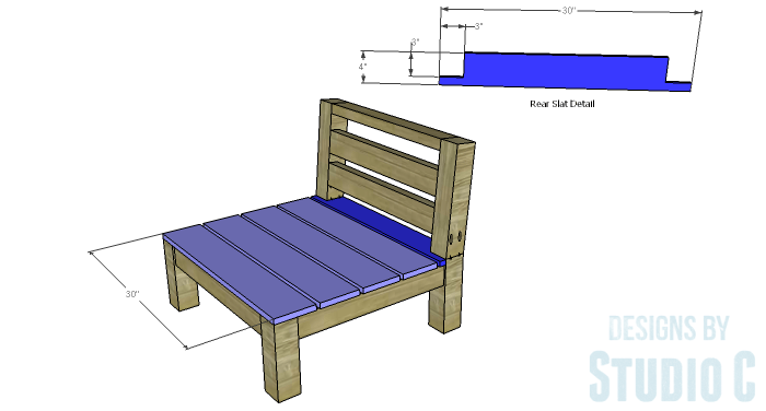 DIY Furniture Plans to Build a Low Slung Chair with Slatted Seat - Slats