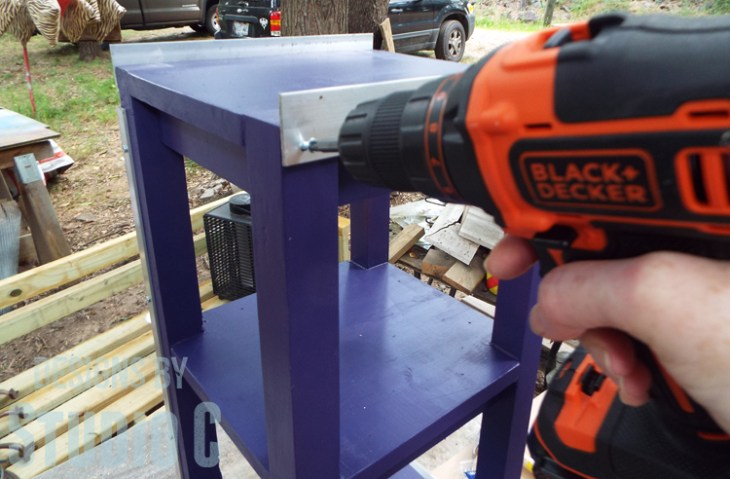 DIY Furniture Plans to Build a Portable Stand for Weights and PowerBlocks - Securing flat bar