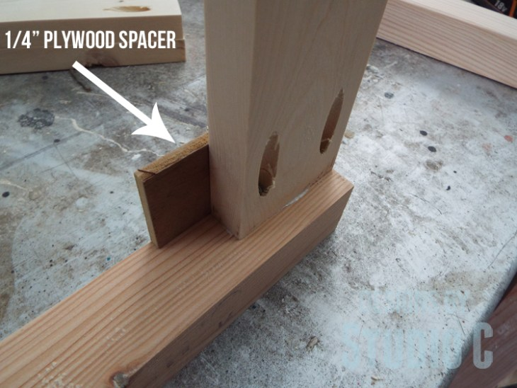 "DIY Furniture Plans to Build a Simple Round Dining Table - 1/4"" plywood spacer"