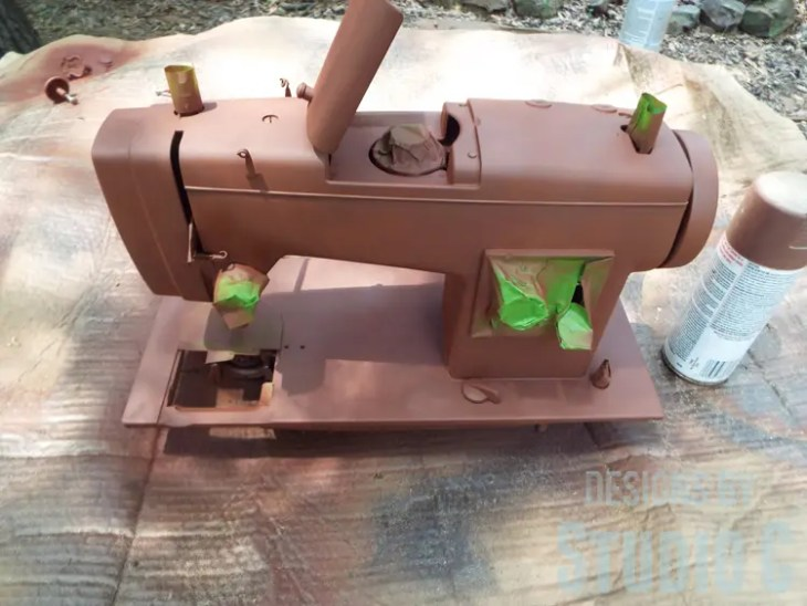 Painting an Old Metal Sewing Machine - Spray Primed