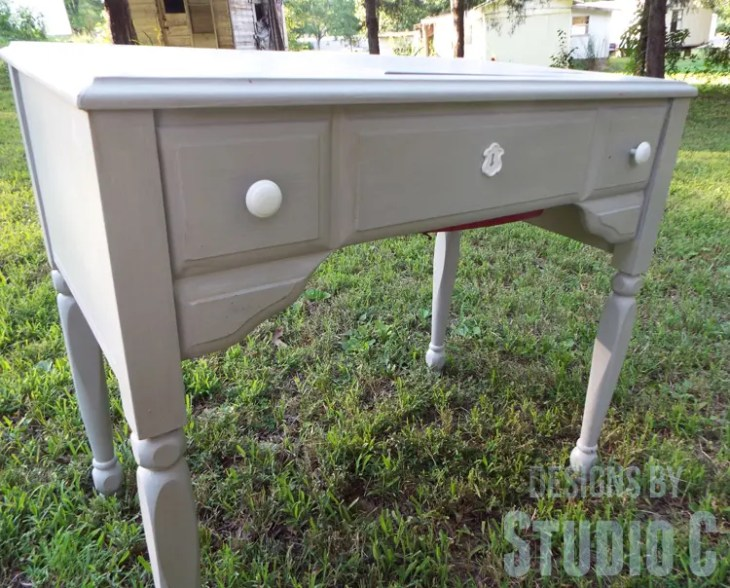 Sewing Machine Cabinet Makeover - Front Hardware