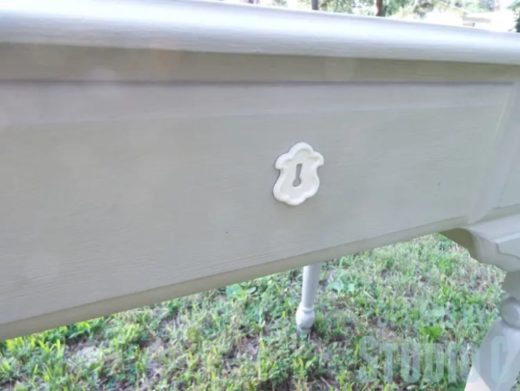 Sewing Machine Cabinet Makeover - Keyhole Plate