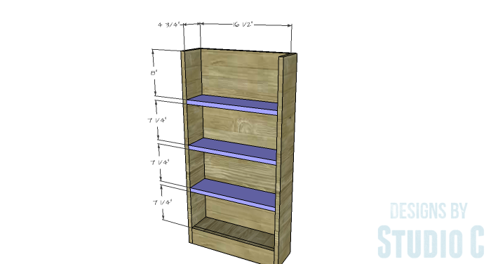 DIY Furniture Plans to Build a Dresser with Side Storage - Shelves