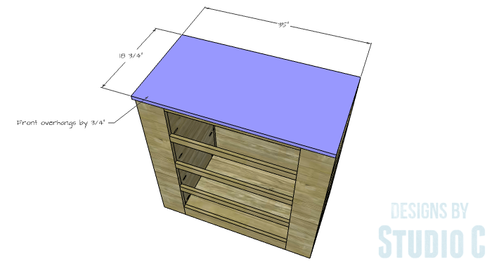 DIY Furniture Plans to Build a Dresser with Side Storage - Top