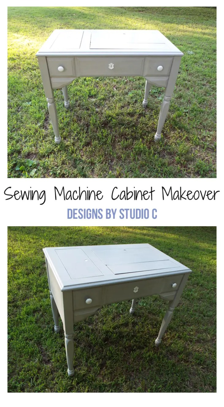 An old sewing machine cabinet has been turned into a fabulous piece with a couple coats of paint!