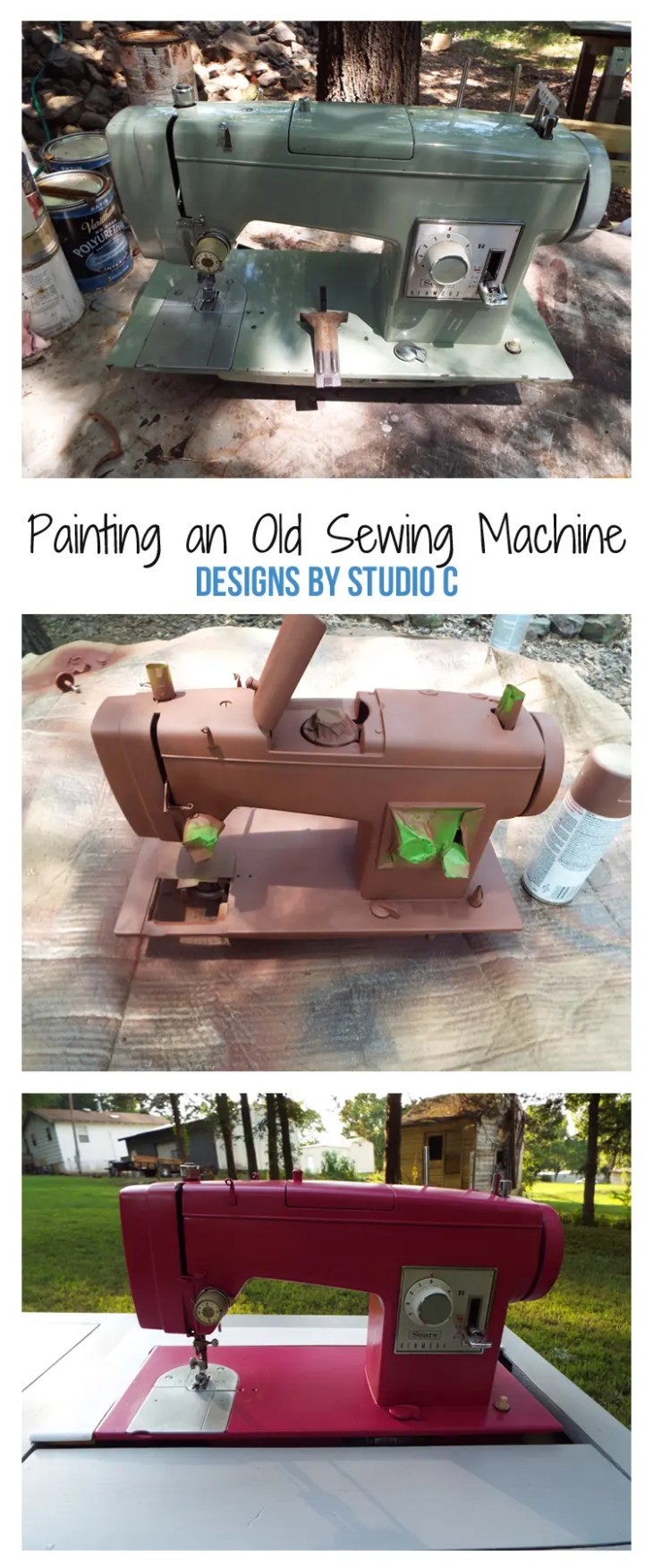Using spray paint and primer, I gave a fabulous makeover to an old metal sewing machine (that still works!) and cannot wait to use it to sew something fabulous!