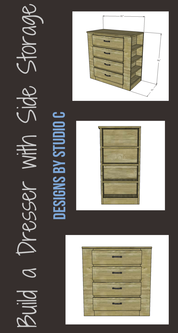 A fabulously easy to build dresser with bookcases on each side. This is a quick and easy project perfect for those new to woodworking!