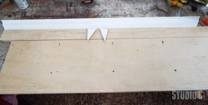 DIY Wall Mounted Shelf with Crown Moulding - Cut Pieces