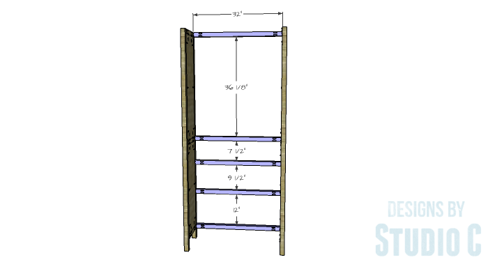 DIY Furniture Plans to Build a Hemnes Inspired Glass Door Cabinet - Back Stretchers