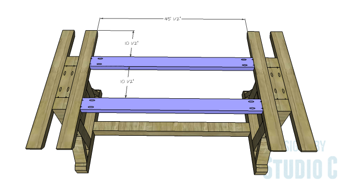 DIY Furniture Plans to Build a PB Inspired Stafford Dining Table - Lengthwise Top Supports
