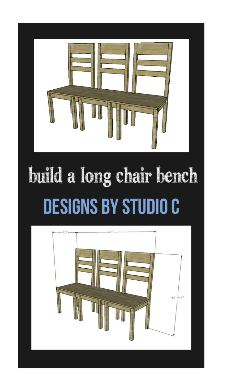 Easy to build chair frames are aligned with a long seat on top for a fabulous Long Chair Bench. This plan is suitable for all skill levels!