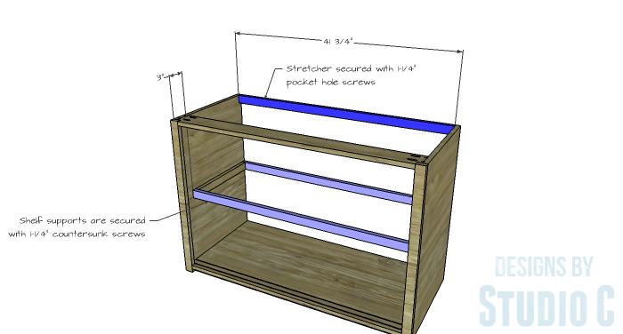 DIY Furniture Plans to Build a Stackable Cabinet - Shelf Supports & Stretcher