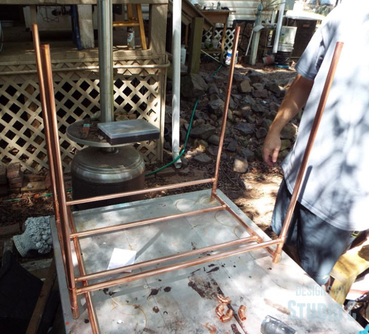 DIY Copper Pipe Bar Cart with Wood Shelves - Cart Assembly