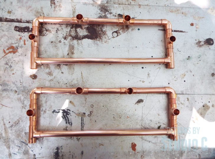 DIY Copper Pipe End Table with a Wood Top - Side Assemblies