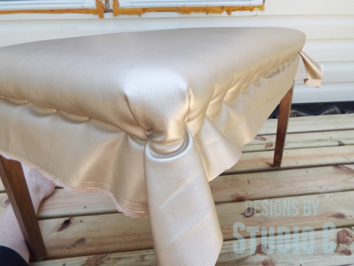 DIY Furniture Plans to Build an Upholstered Bench with Tapered Legs - Pleated Corners