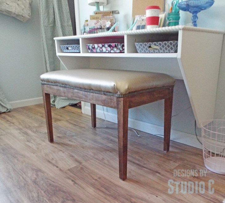 DIY Furniture Plans to Build an Upholstered Bench with Tapered Legs - Completed with Desk