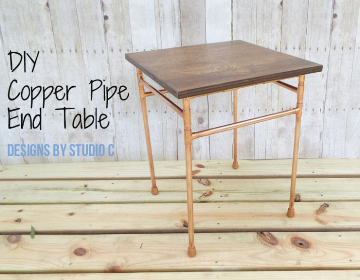 DIY Copper Pipe End Table with a Wood Top