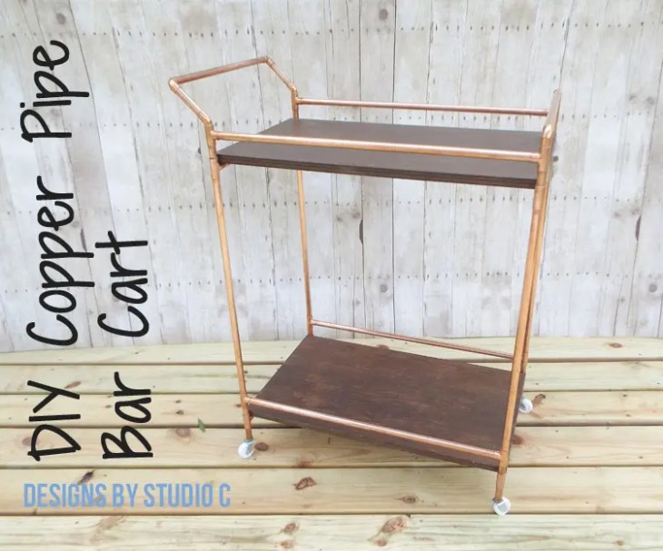 DIY Copper Pipe Bar Cart with Wood Shelves