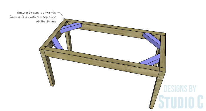DIY Furniture Plans to Build an Upholstered Bench with Tapered Legs - Braces