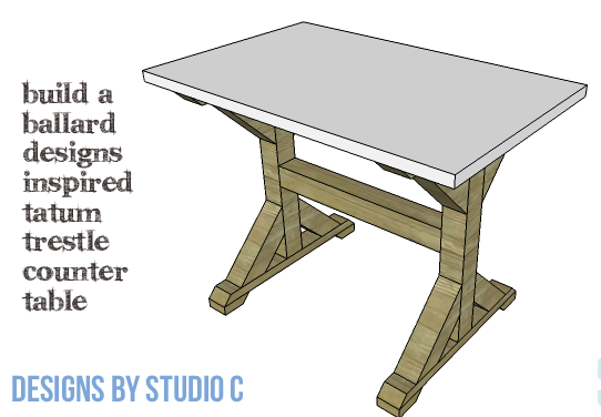 DIY Furniture Plans to Build a Ballard Designs Inspired Tatum Trestle Counter Table-copy-1