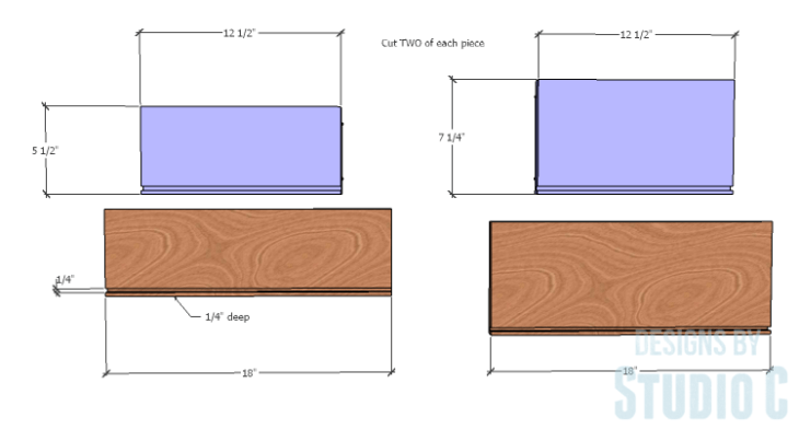 DIY furniture plans to build a Cuszco Console Table_Drawer Box Pieces