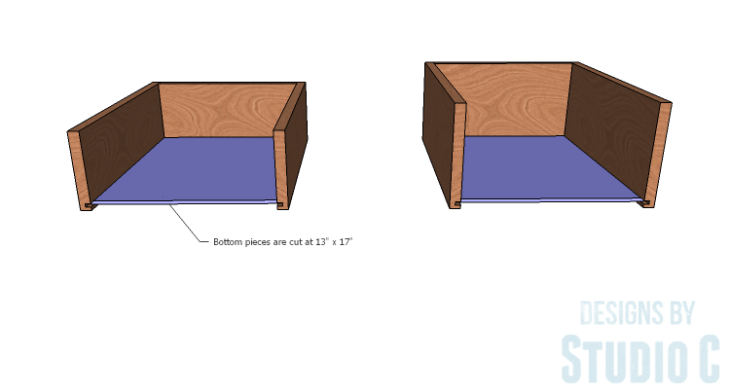 DIY furniture plans to build a Cuszco Console Table_Drawer Box Bottom