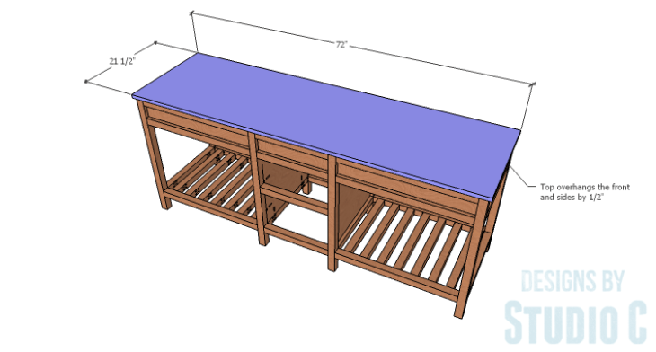 DIY furniture plans to build a Cuszco Console Table_Top