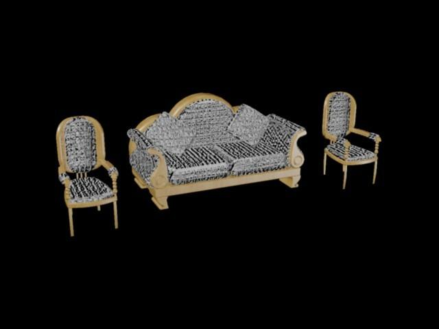 Living Room Furniture--Imperial Style 3D DWG Model for ...