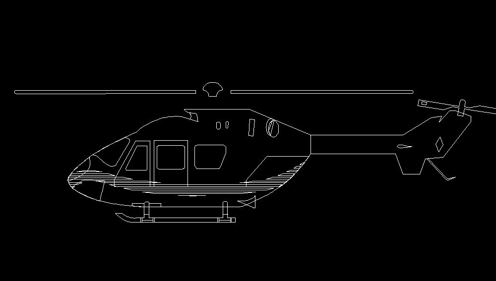 Helicopter Aircraft Side View Elevation 2D DWG Block For