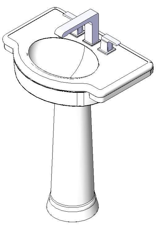 Lavabo Con Pedestal 3D DWG Model for AutoCAD • Designs CAD